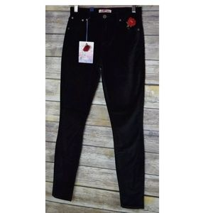 JW Johnny Was Skinny Black Velvet Embroidered Pant
